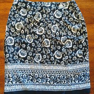 EUC Talbot's Wmn Sz 10 Faux Half Wrap Skirt Floral